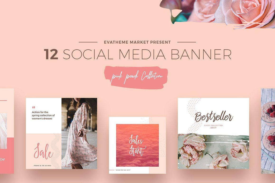 Pink Peach Social Media Designs example image 1