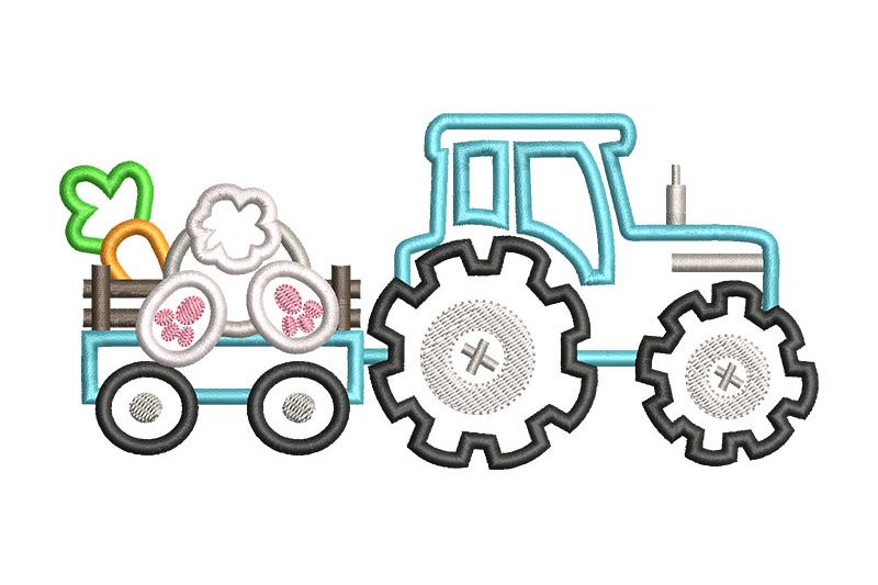 Bunny Tractor Applique example image 1