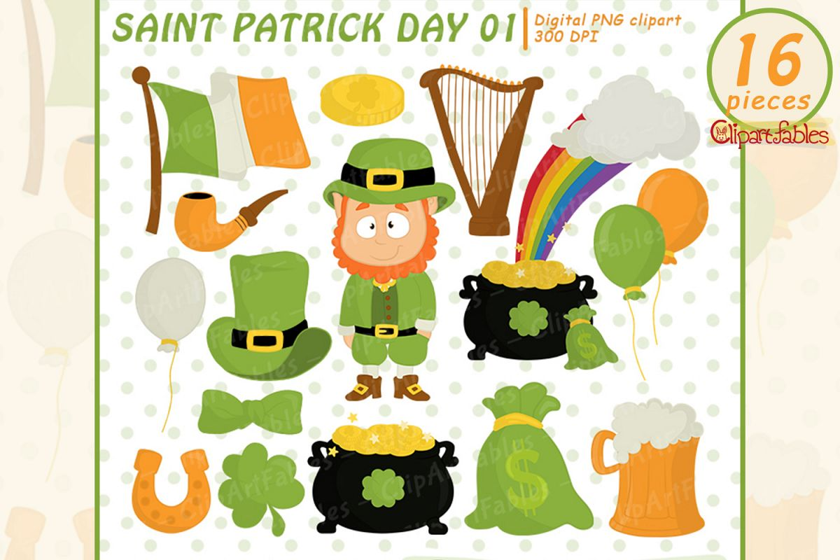 St. Patrick's Day Clipart, Leprechaun and Shamrock design example image 1