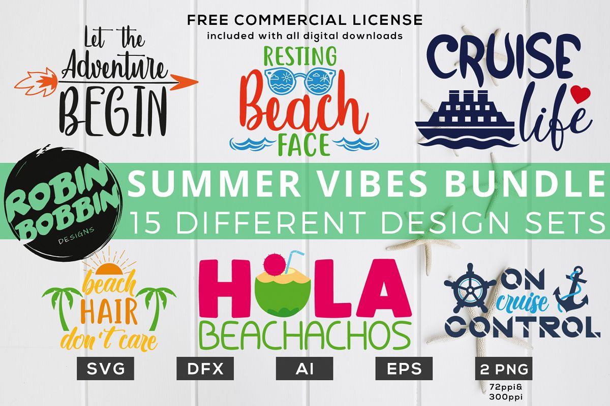 Summer Vibes Bundle Of 15 Designs Svg Files For Cutting