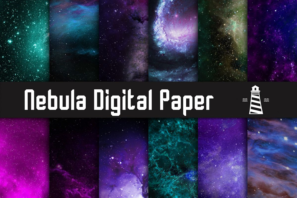 Nebula Backgrounds, Galaxy Digital Paper, Cosmic Textures example image 1