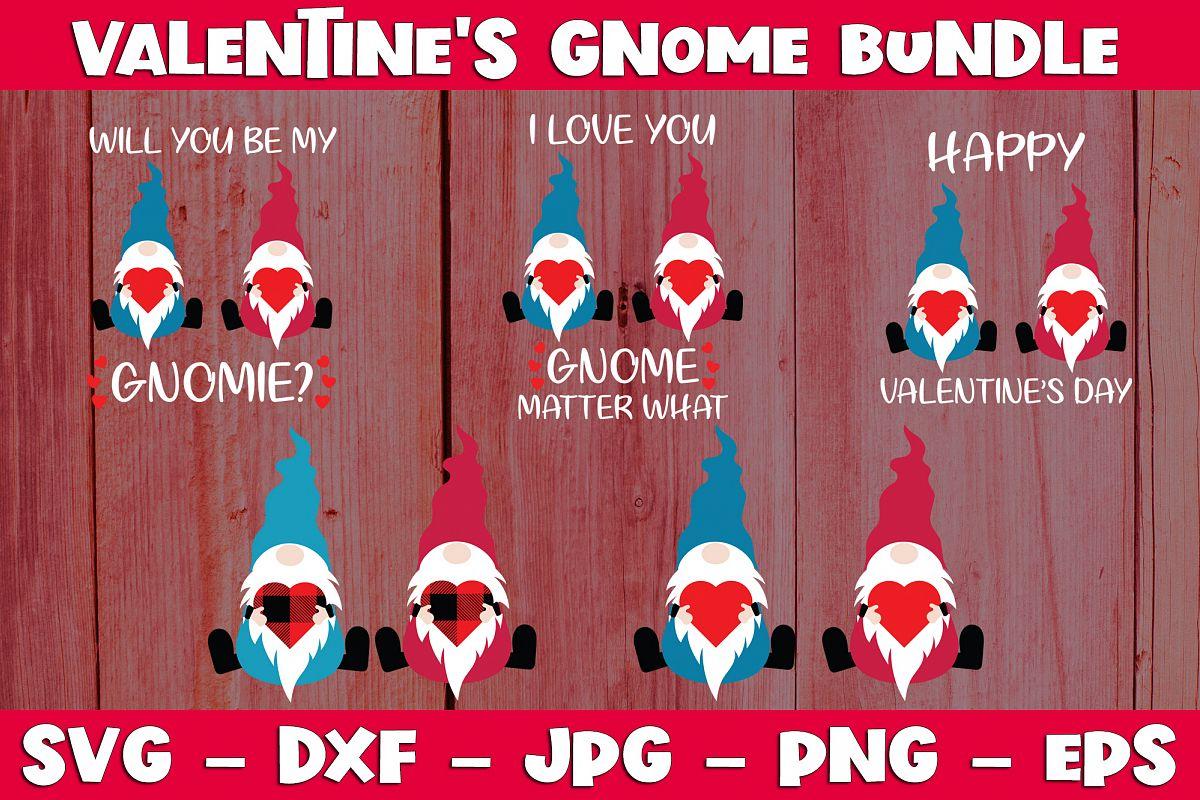 Valentine Gnome Bundle SVG PNG Valentine's Day Gnome Bundle example image 1