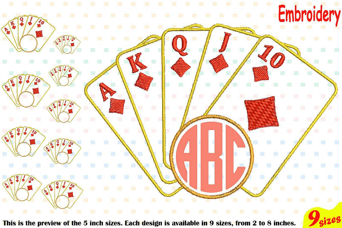 Poker royal flush designs for embroidery machine instant download.