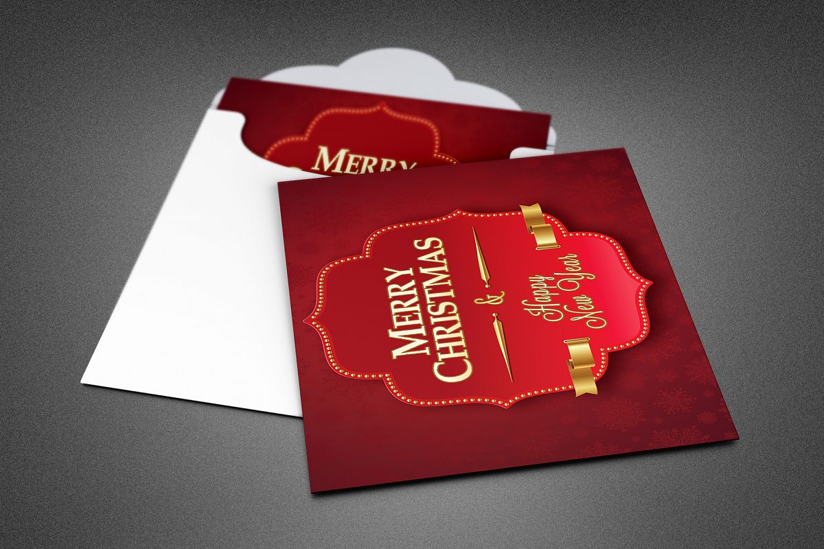 Retro Christmas Greeting Card Template example image 1