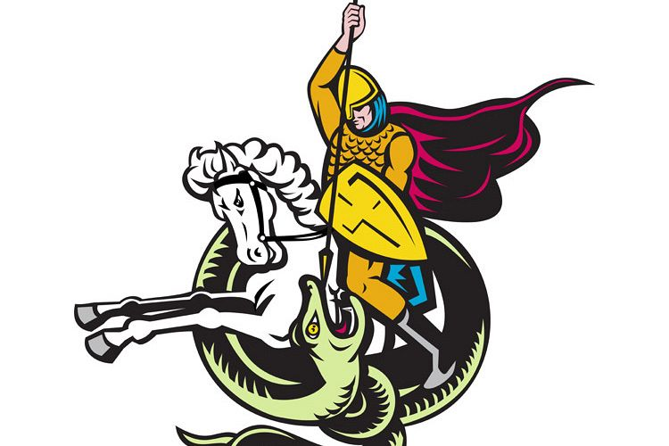 knight riding horse fighting dragon snake example image 1