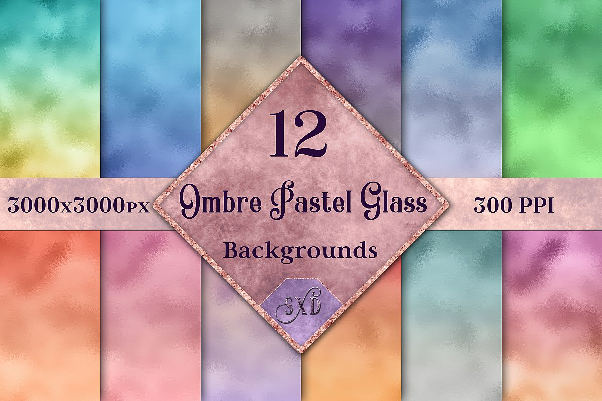 Ombre Pastel Glass Backgrounds - 12 Image Textures Set example image 1