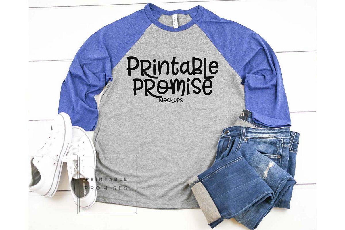 Bella Canvas 3200 Grey Navy Triblend Raglan Mockup Shirt example image 1