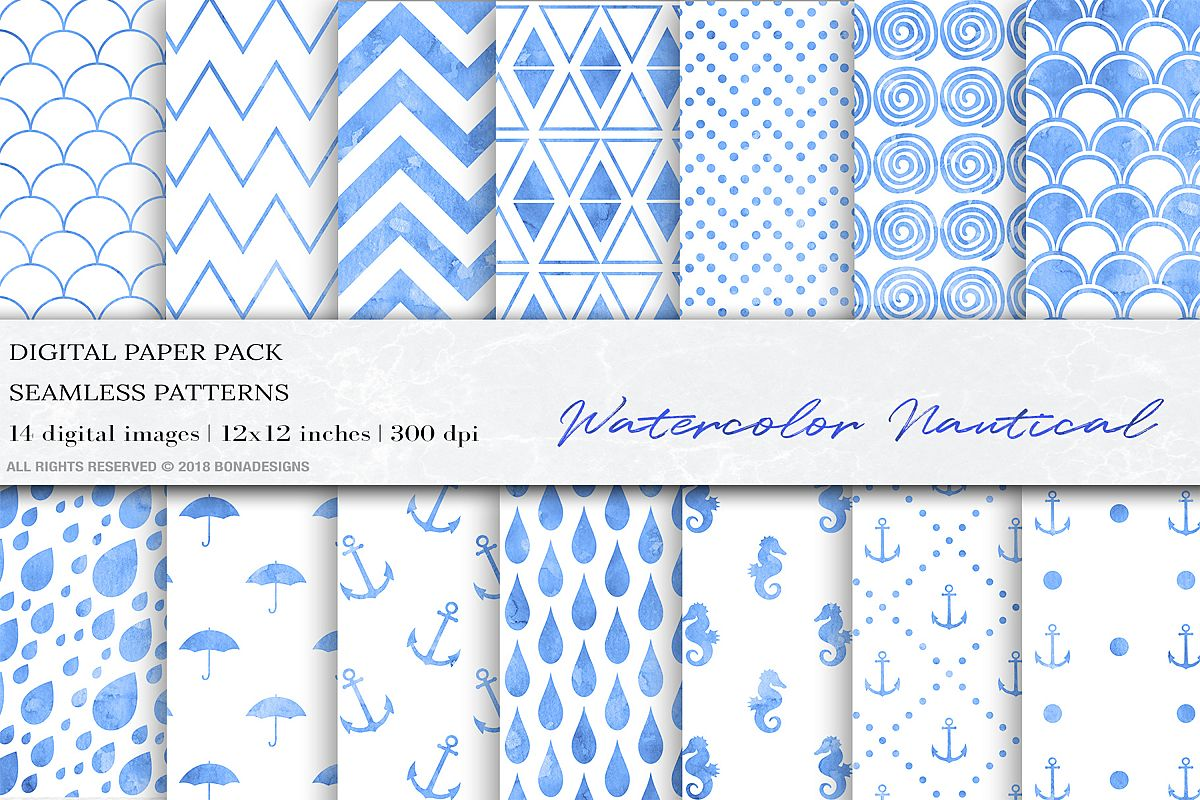 Blue Watercolor Nautical Seamless Patterns, Watercolor example image 1