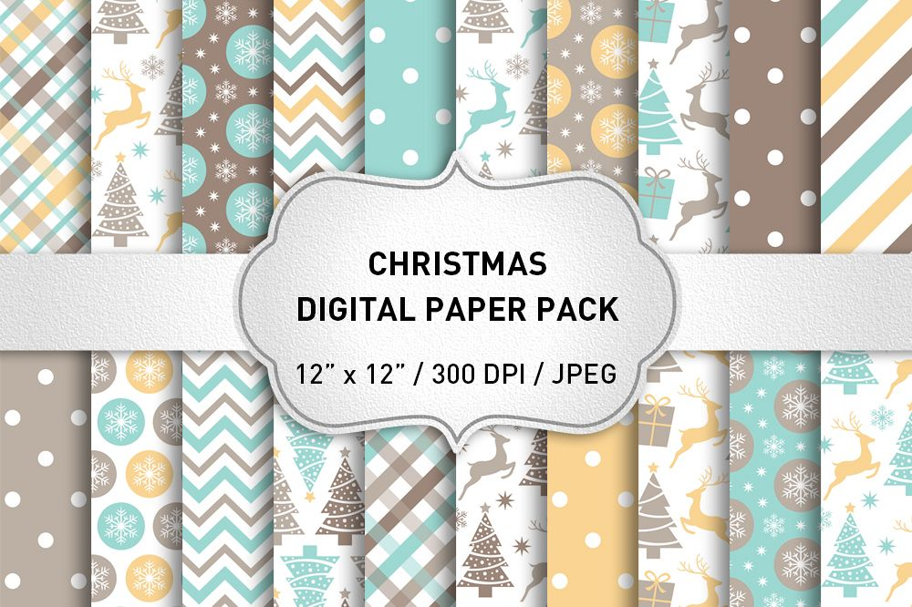 Christmas Digital Paper Pack / Backgrounds / Scrapbooking / Patterns / Printables / Card Making example image 1