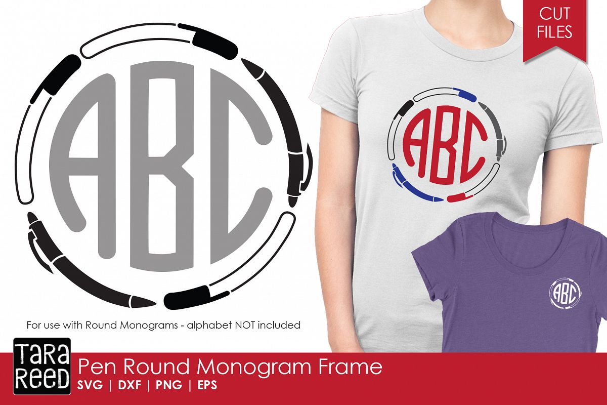 Pen Round Monogram Frame - SVG and Cut Files for Crafters example image 1