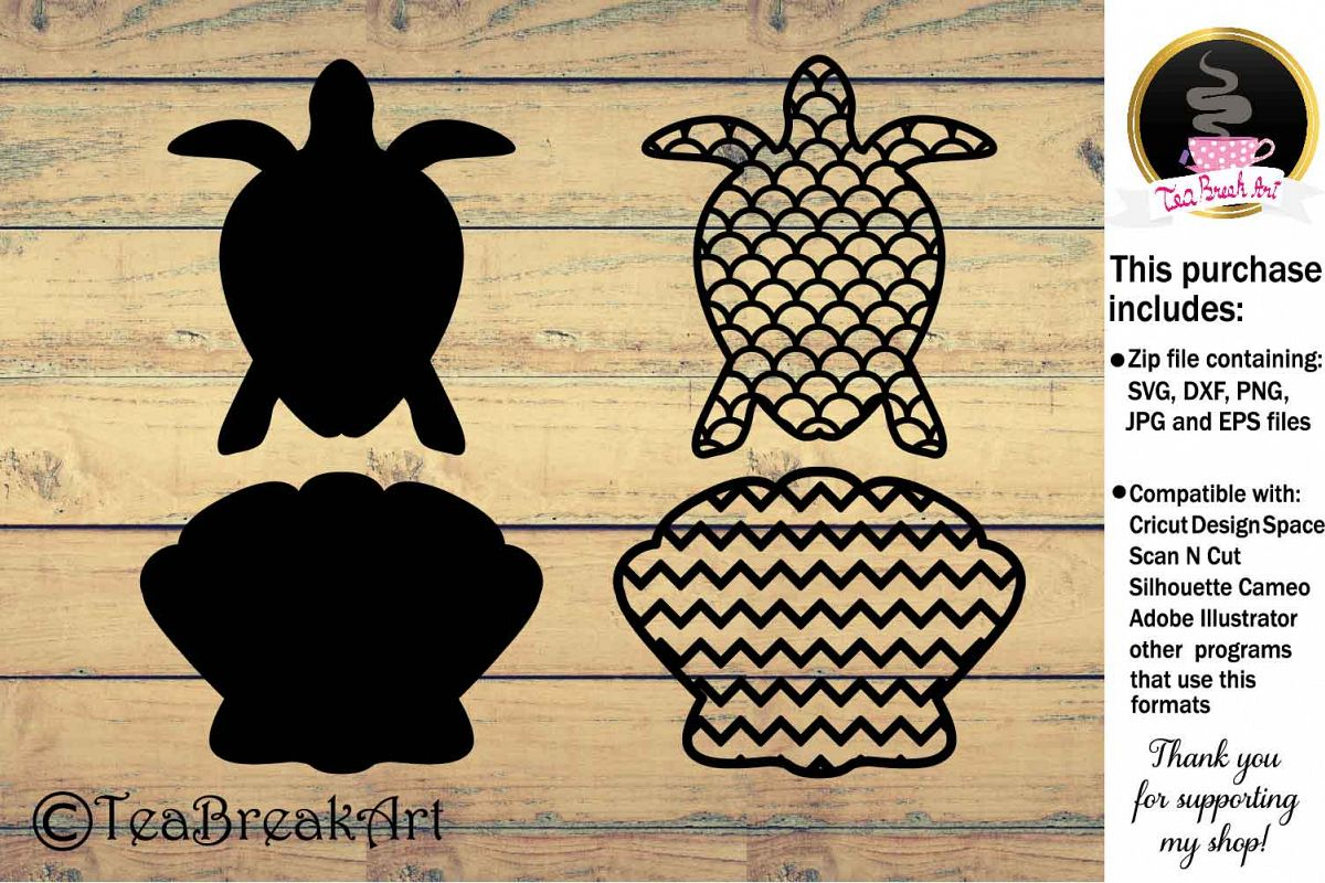 Turtle and shell Sea Animals Cutting Files 900C example image 1