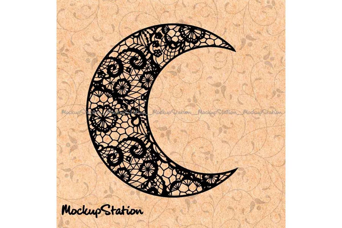 Moon Floral Lace Mandala Halloween Decor svg example image 1