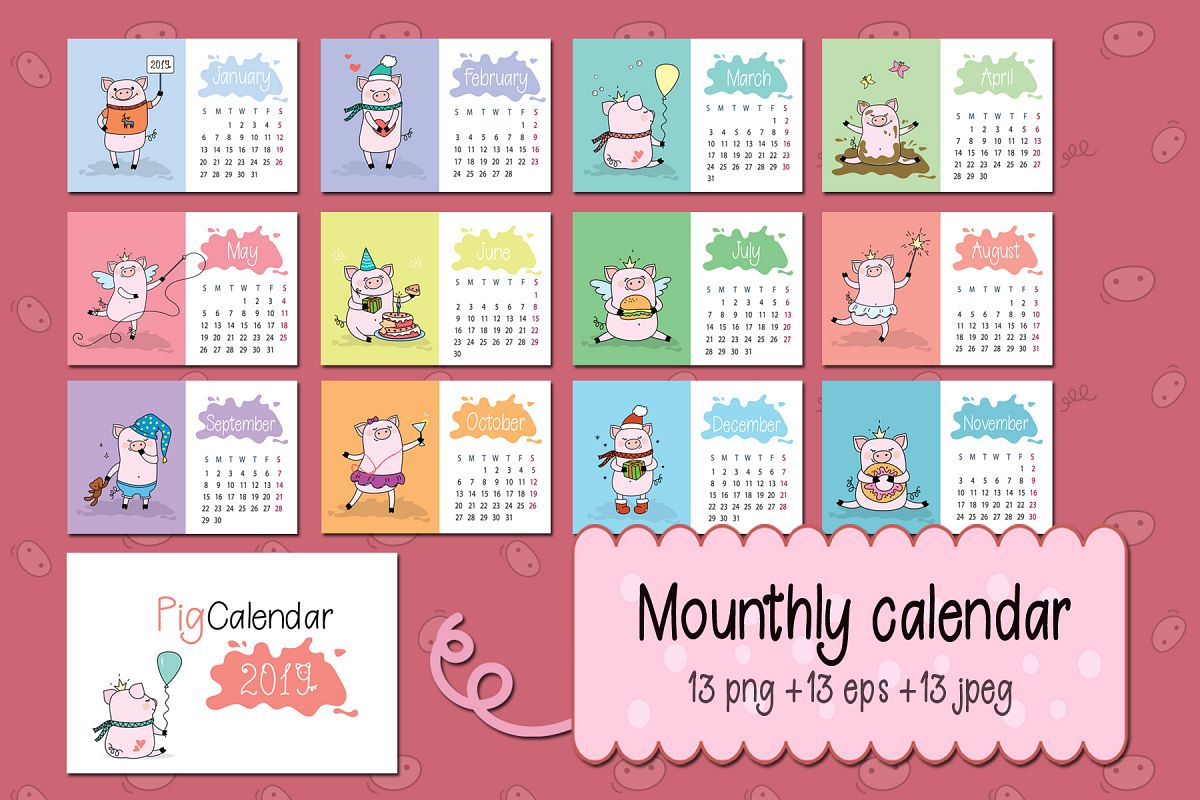 calendar for year 2019 with pigs example image 1