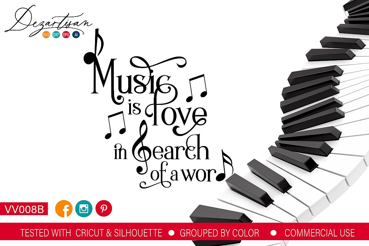 Music is Love in search of a word SVG DXF cut file example image 1