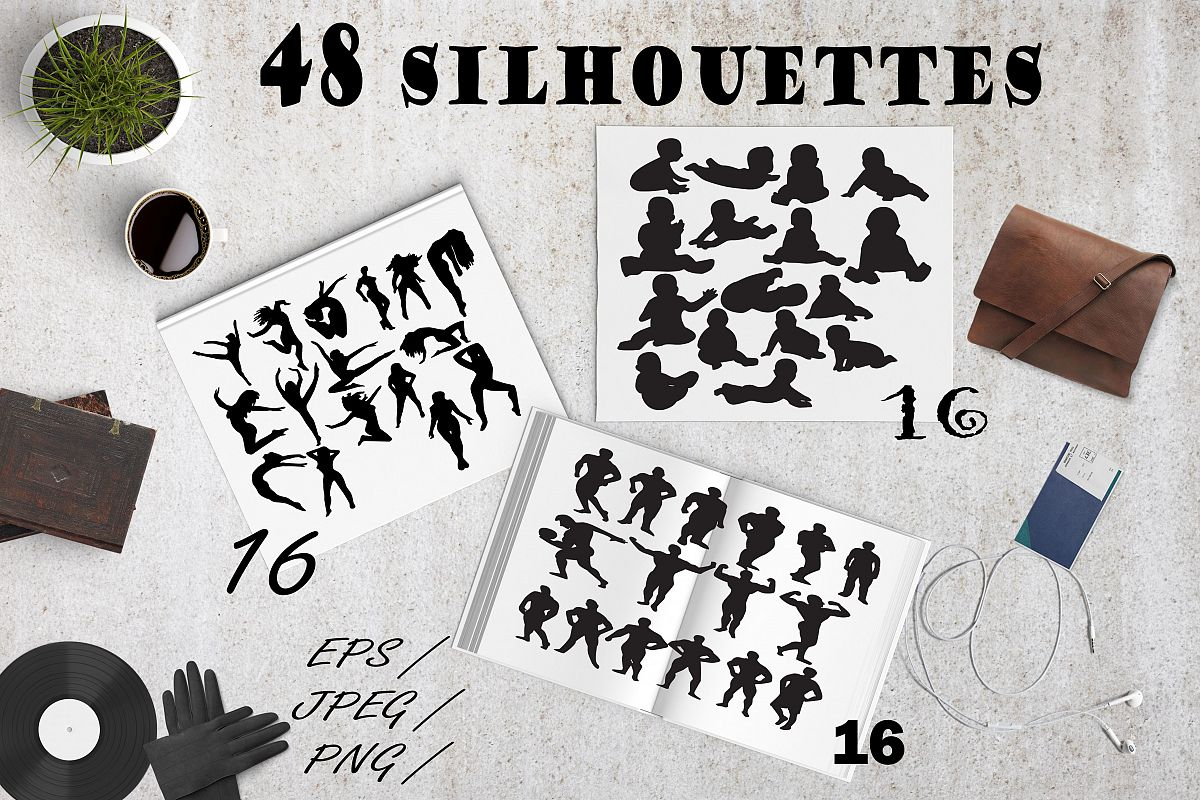Set of 46 people silhouettes example image 1