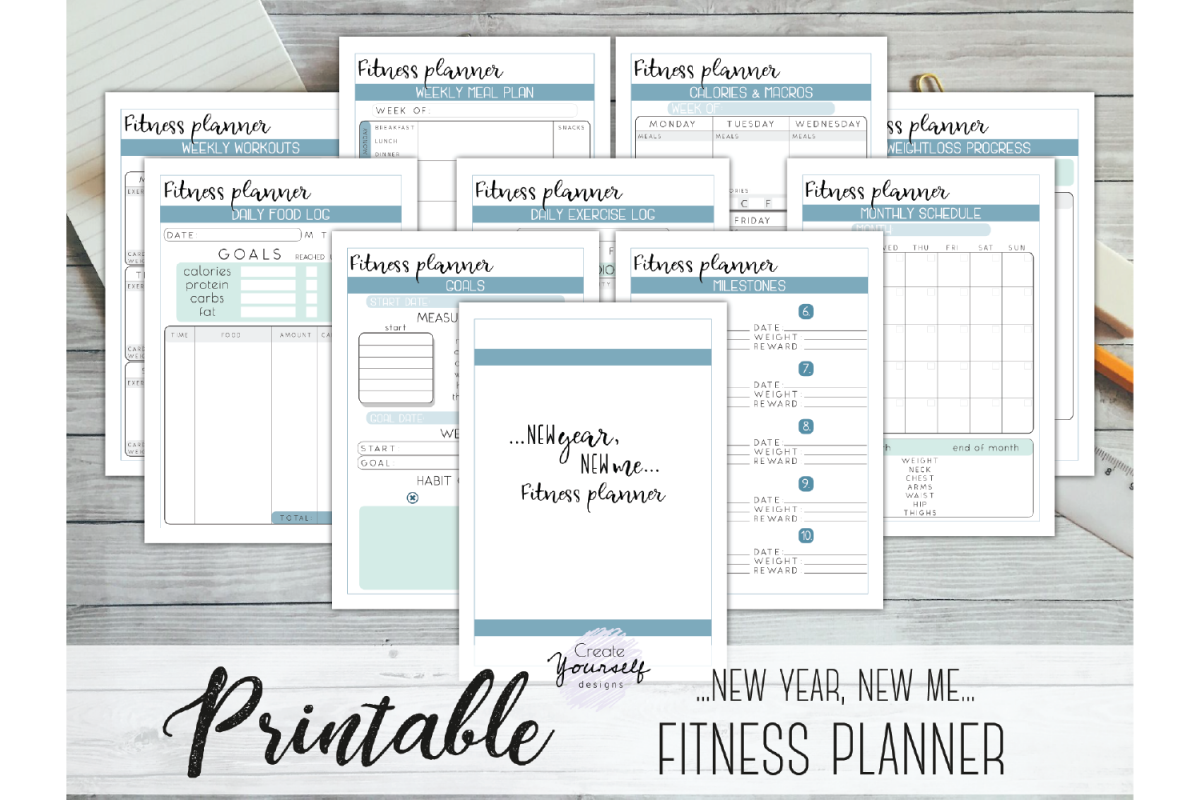 photo regarding Fitness Planner Printable named Physical fitness planner printable - bodyweight decline tracker