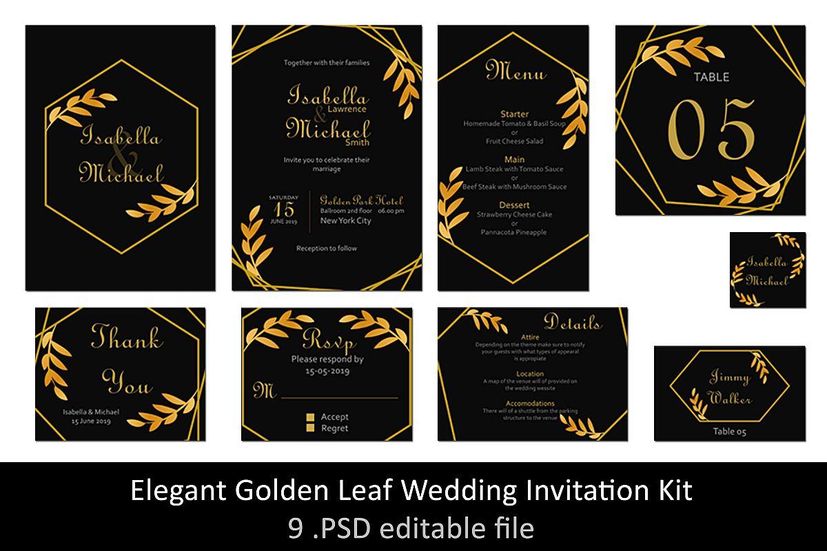 Elegant Golden Leaf Wedding Invitation Kit example image 1