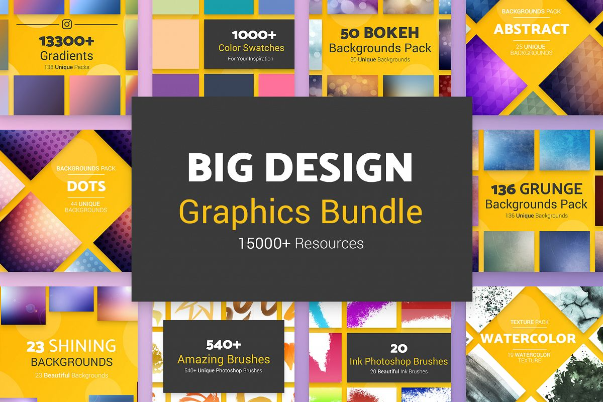 Big Design Graphics Bundle 15000 Resources example image 1