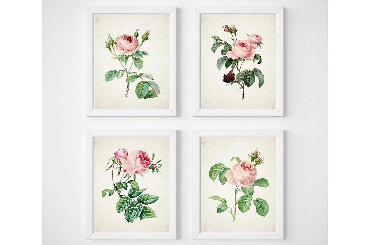 Vintage Rose Wall Decor, Flower Print Set, Gallery Wall Art example image 1