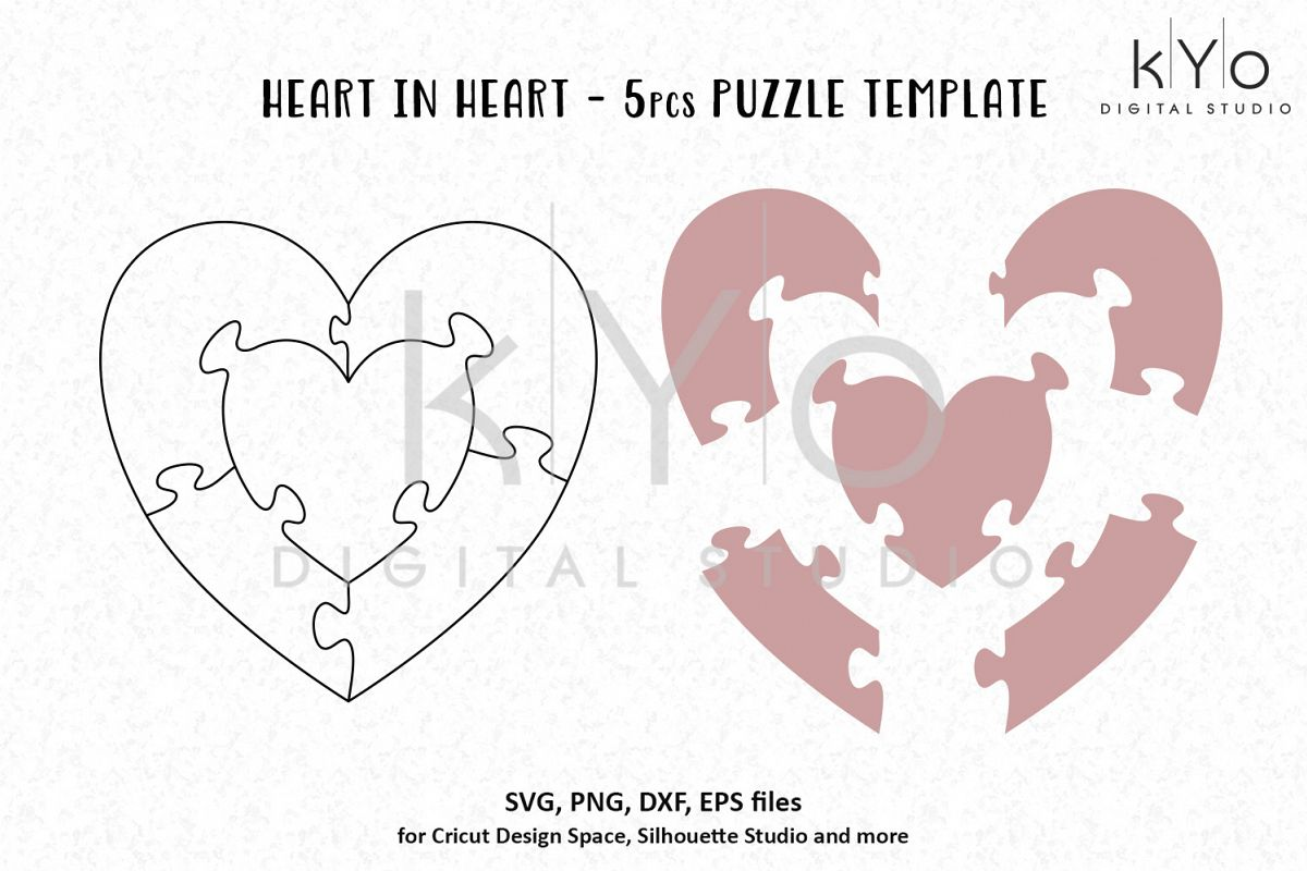 Heart Shape Jigsaw Puzzle Template AI EPS SVG DXF PNG Files Example Image