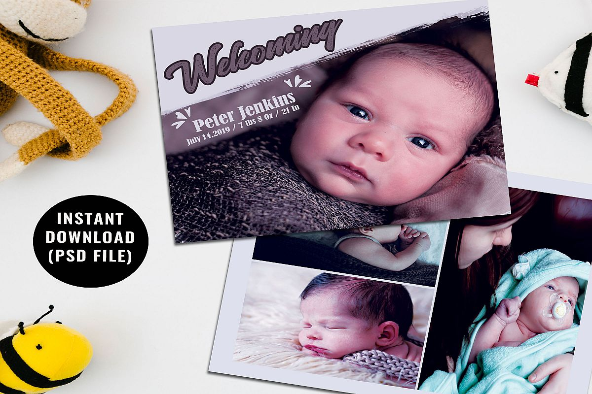 Baby Shower Announcement Card Template example image 1