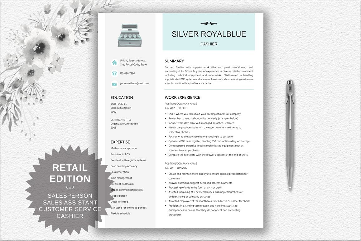 Resume Template Salesperson | Retail | Cashier | Customer Service example image 1