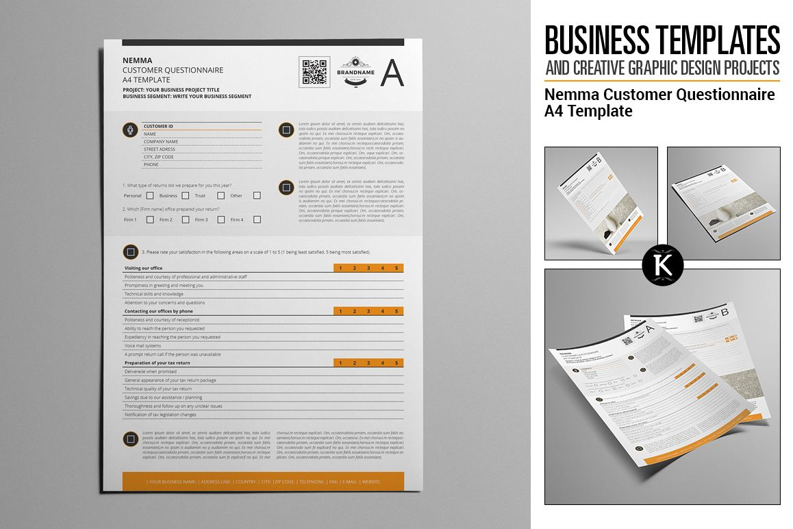 nemma customer questionnaire a4 template example image