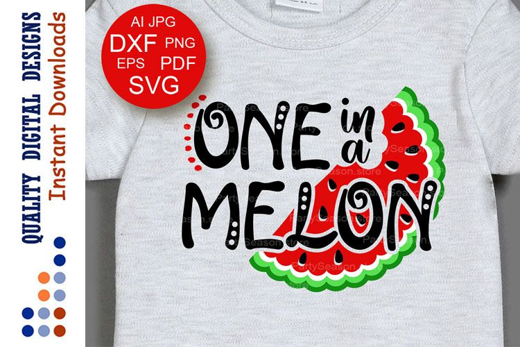 Ome in a melon svg files saying Watermelon clipart Summer example image 1
