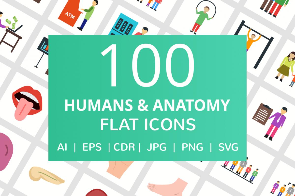 100 Humans & Anatomy Flat Icons example image 1