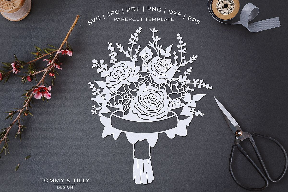 Romantic Floral Bouquet - Papercut Template SVG JPG PNG example image 1