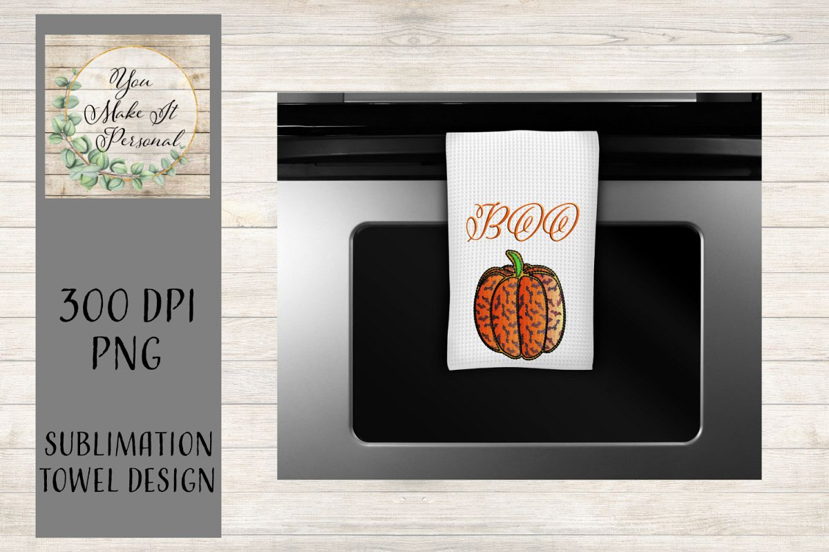 Kitchen Towel Designs for Halloween/Batty Pumpkin example image 1