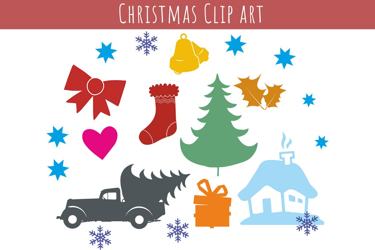Christmas Clip art -  cutting files, SVG, PNG, JPG, EPS, AI, DXF example image 1