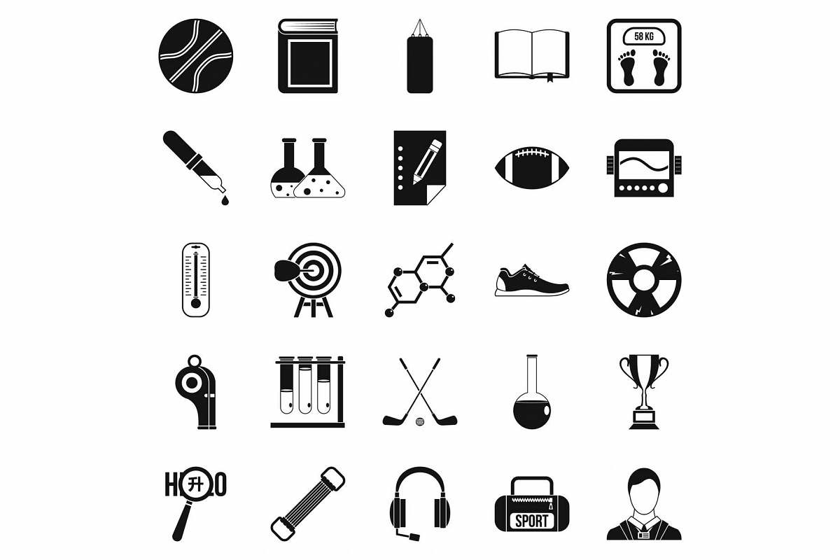 Academy icons set, simple style example image 1