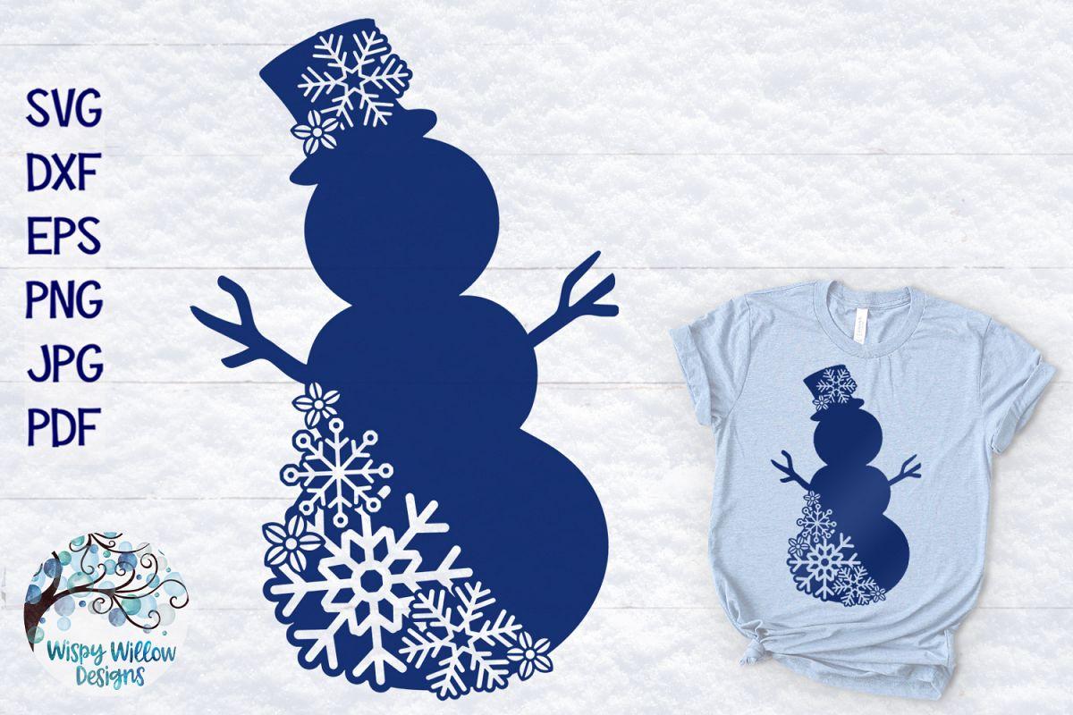 Snowflake Snowman SVG | Winter Snowman SVG Cut File example image 1