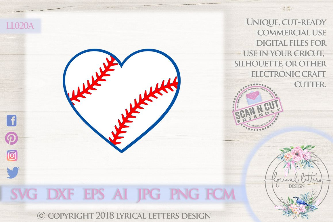 Baseball Heart SVG DXF Cut File LL020A example image 1