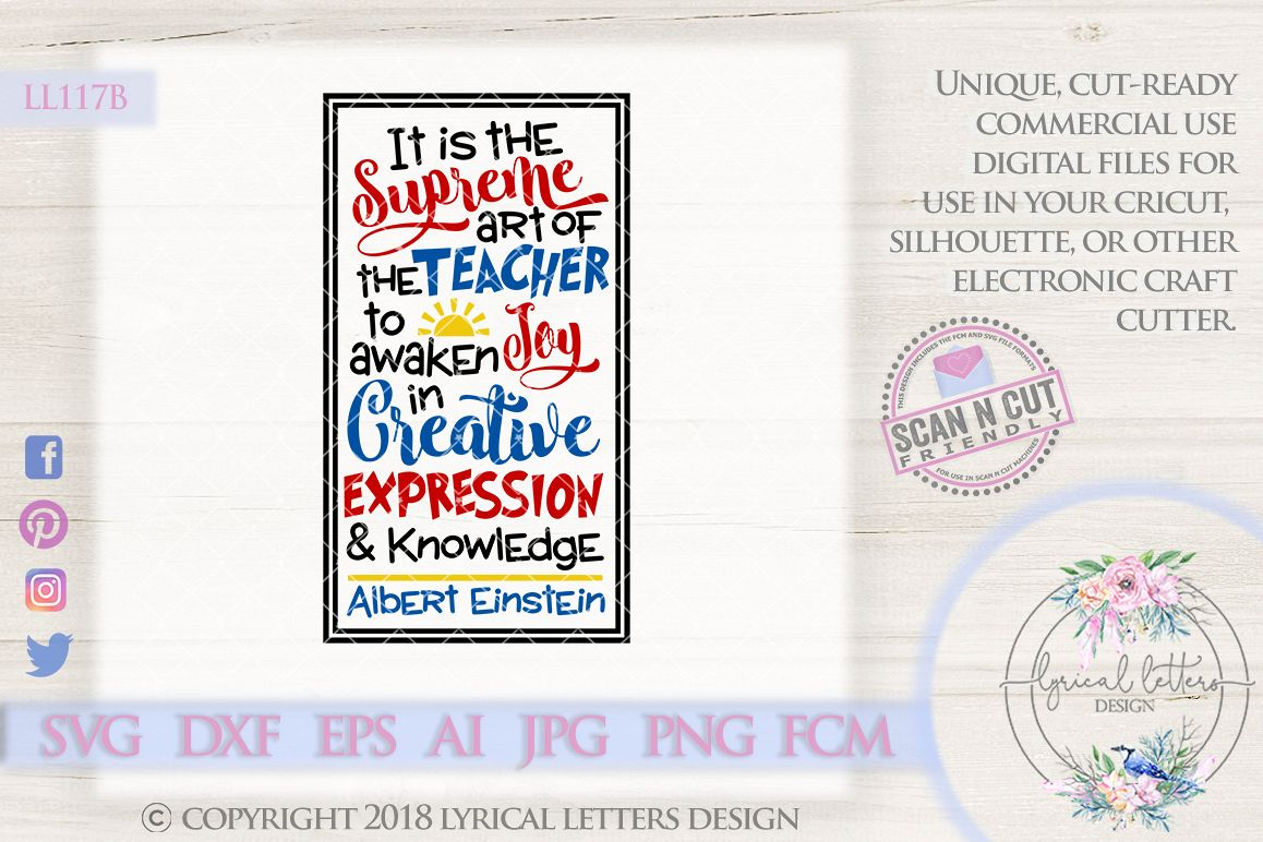 Albert Einstein Teacher Quote SVG Cutting File LL117B example image 1