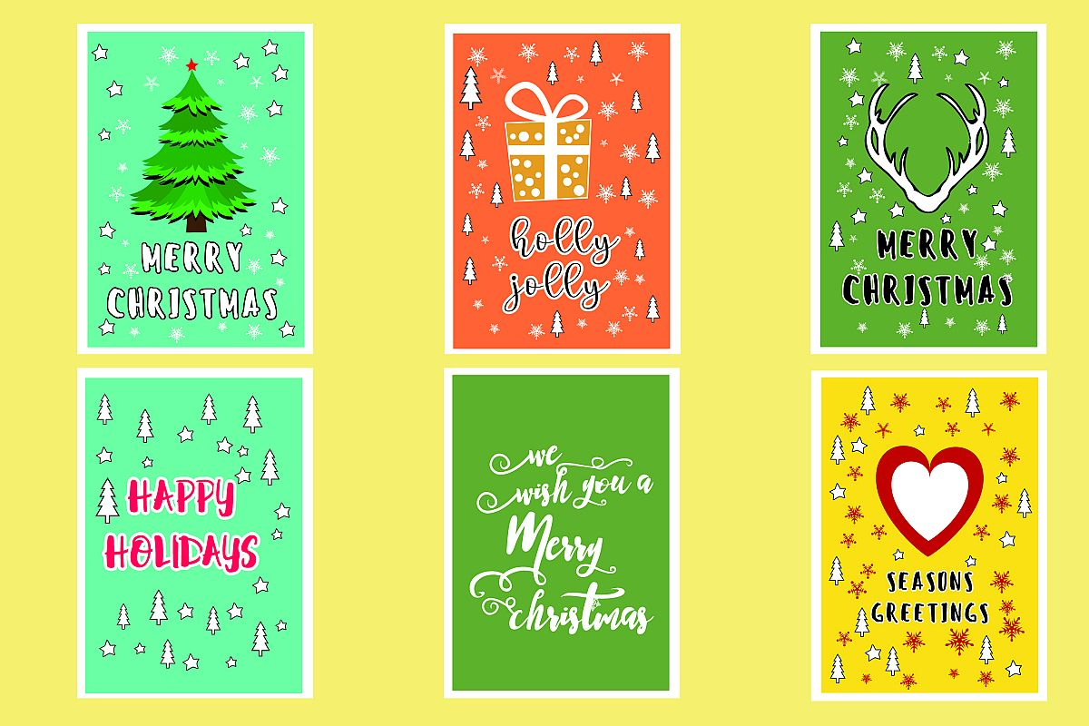 AA25-Christmas Greetings cards 6 Designs - SVG Bundle example image 1