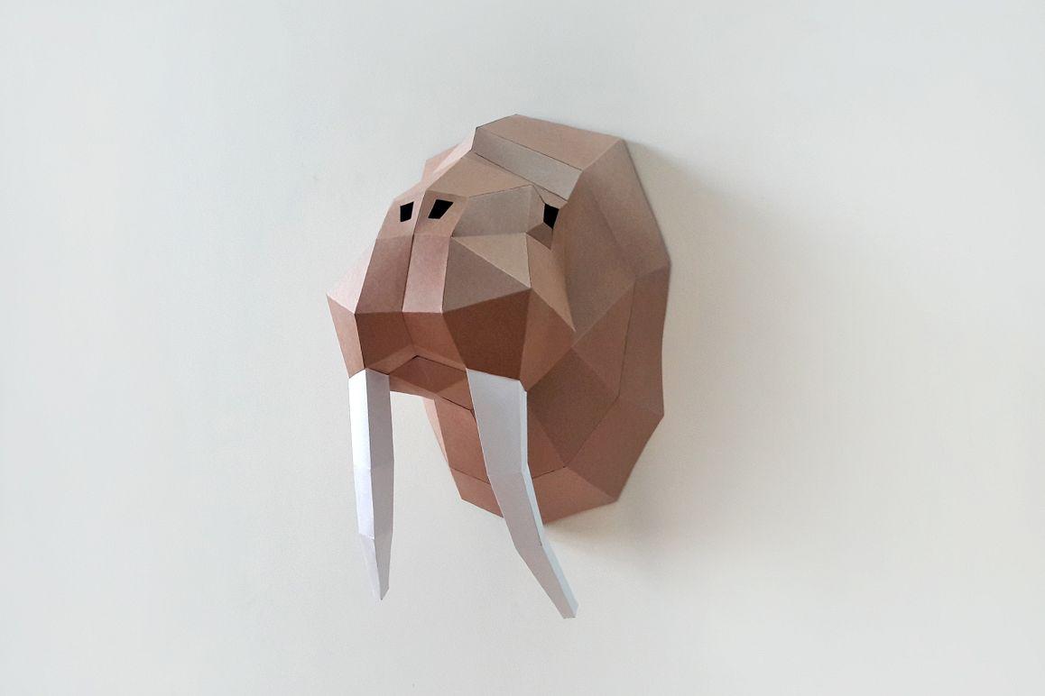 DIY Walrus Trophy - 3d papercraft example image 1