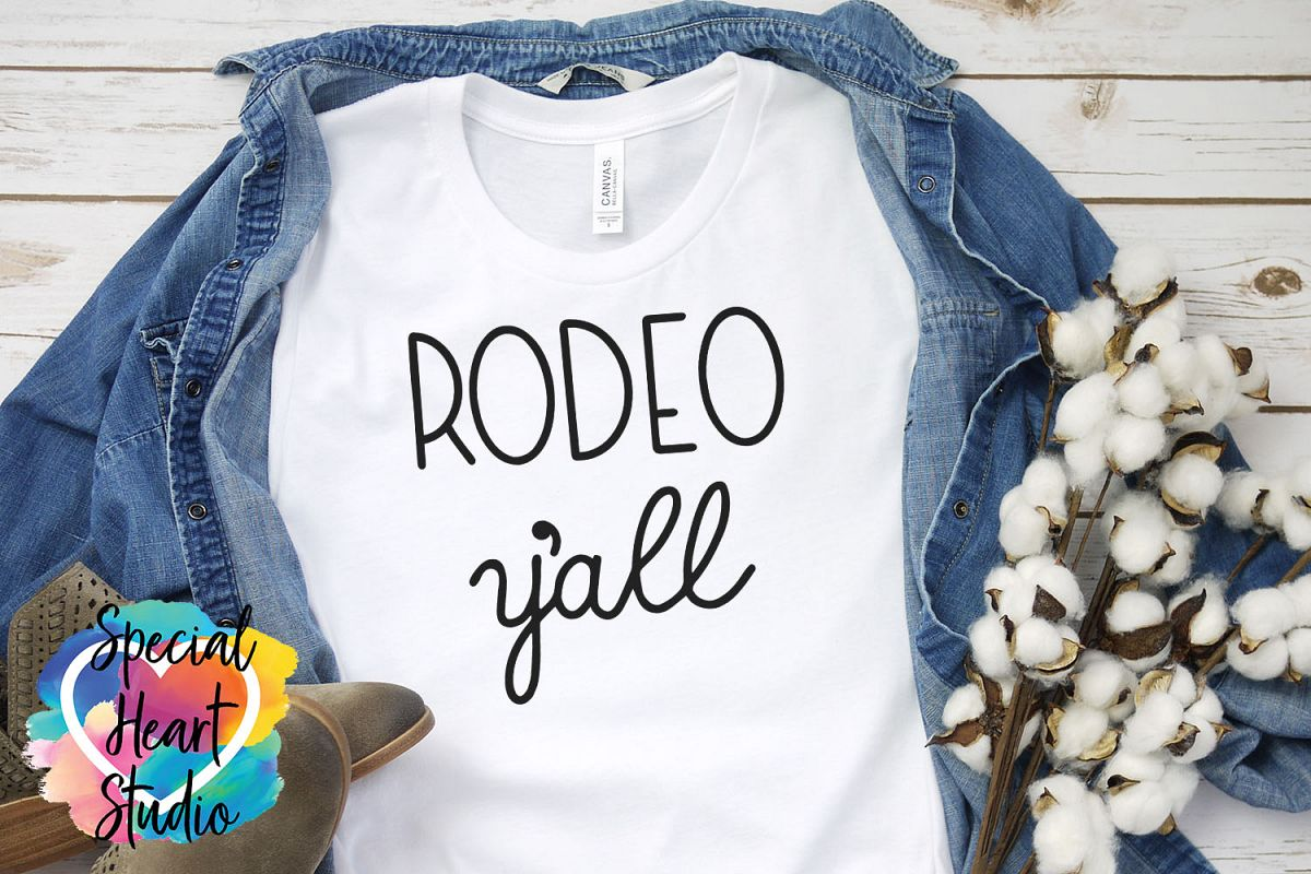 Rodeo y'all SVG - A hand lettered rodeo cut file example image 1