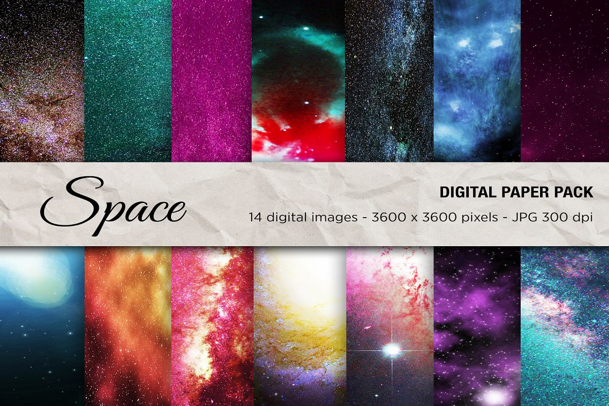 Space Digital Paper Space Galaxy Background Scrapbook Pape