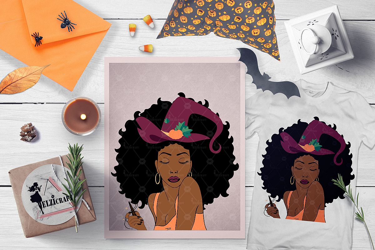 Halloween Afro Woman Witch Hat Magic Wand Wood SVG Cut File example image 1