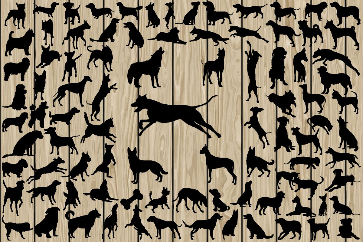 90 Dog SVG, Dog Silhouette Clipart, Dog Silhouette SVG, Dog Breed SVG, Dog Cutting File, Dog Dxf, Dog Vector, Dog Eps, Dog Png, Breed Dxf. example image 1