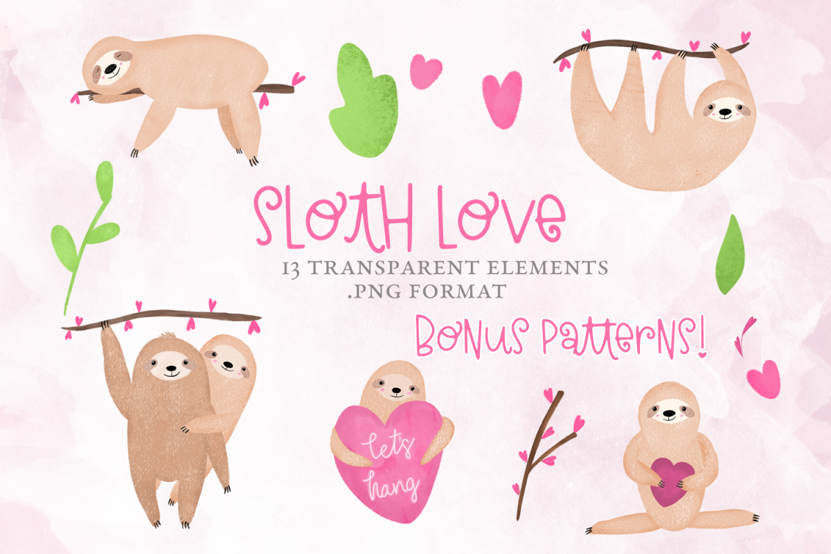 Sloth Love, Valentine's Day, Clipart example image 1