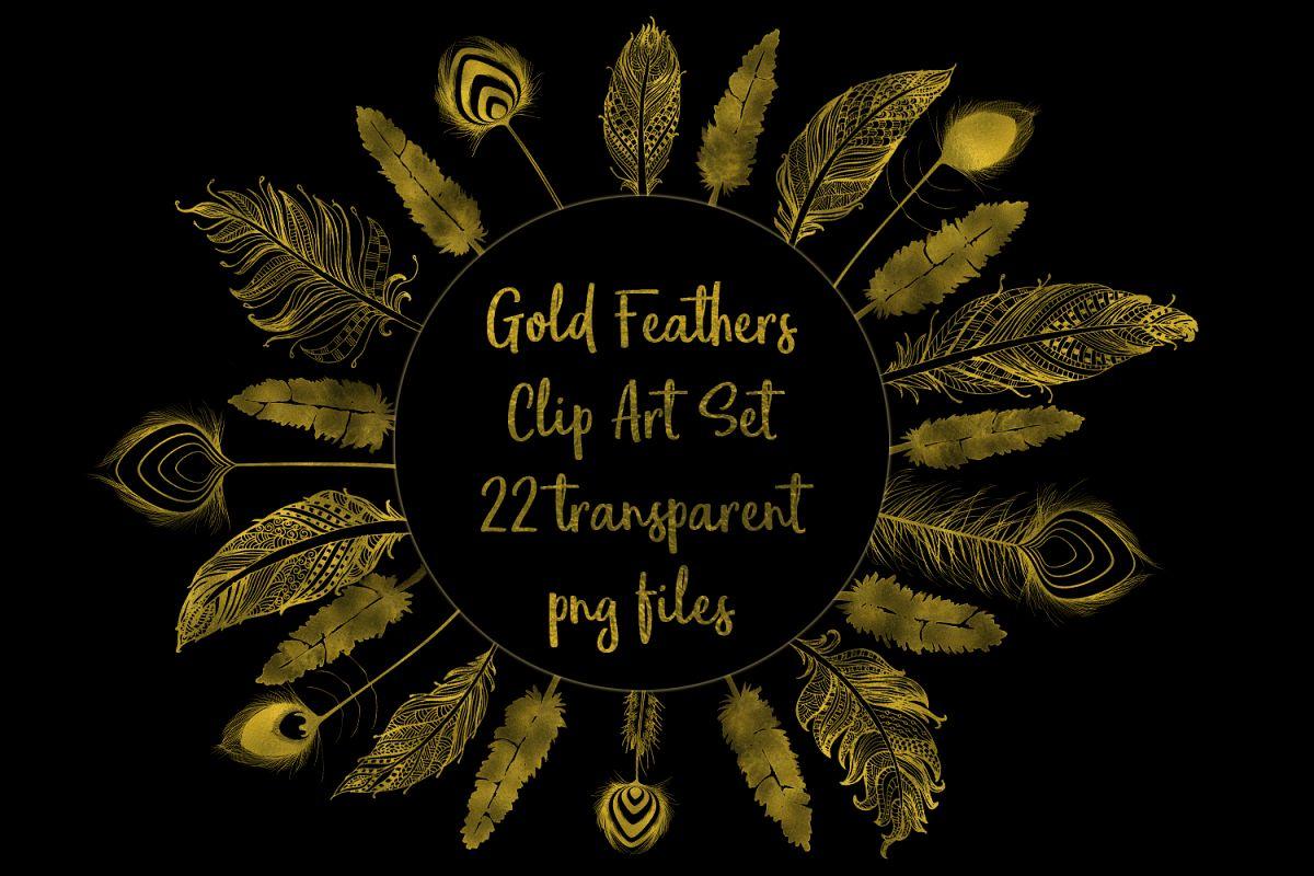 Gold Foil Feather Clip Art, 22 Transparent PNG Files