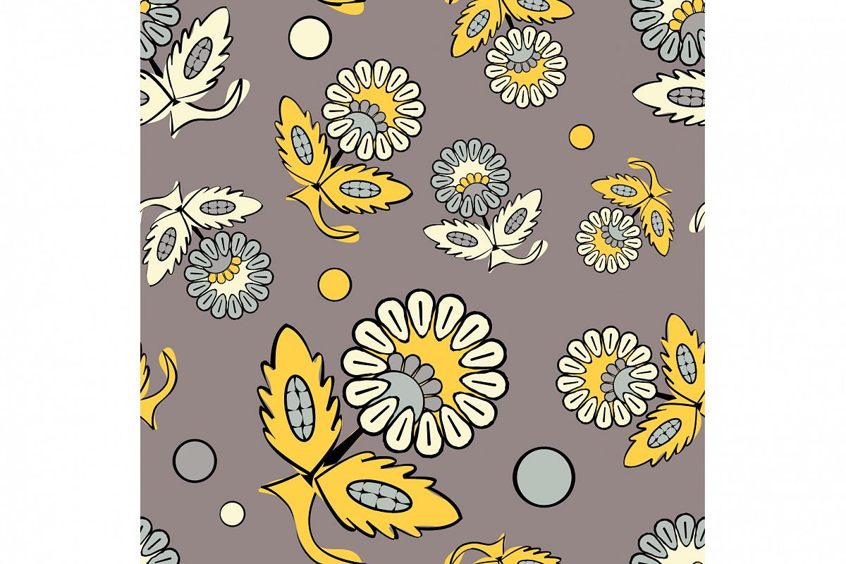 Ethnic boho seamless pattern with decorative flowers. Russian. Print. Cloth design, wallpaper. 1 of the jpeg file in resolution 4167*4167px and 1 file eps8 1000*1000px. example image 1