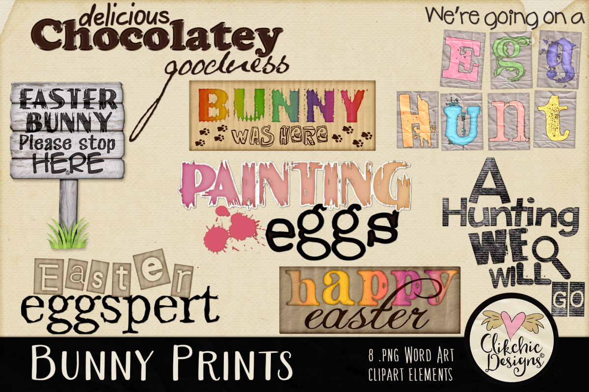Easter Clipart - Bunny Prints Word Art Spring Clipart example image 1