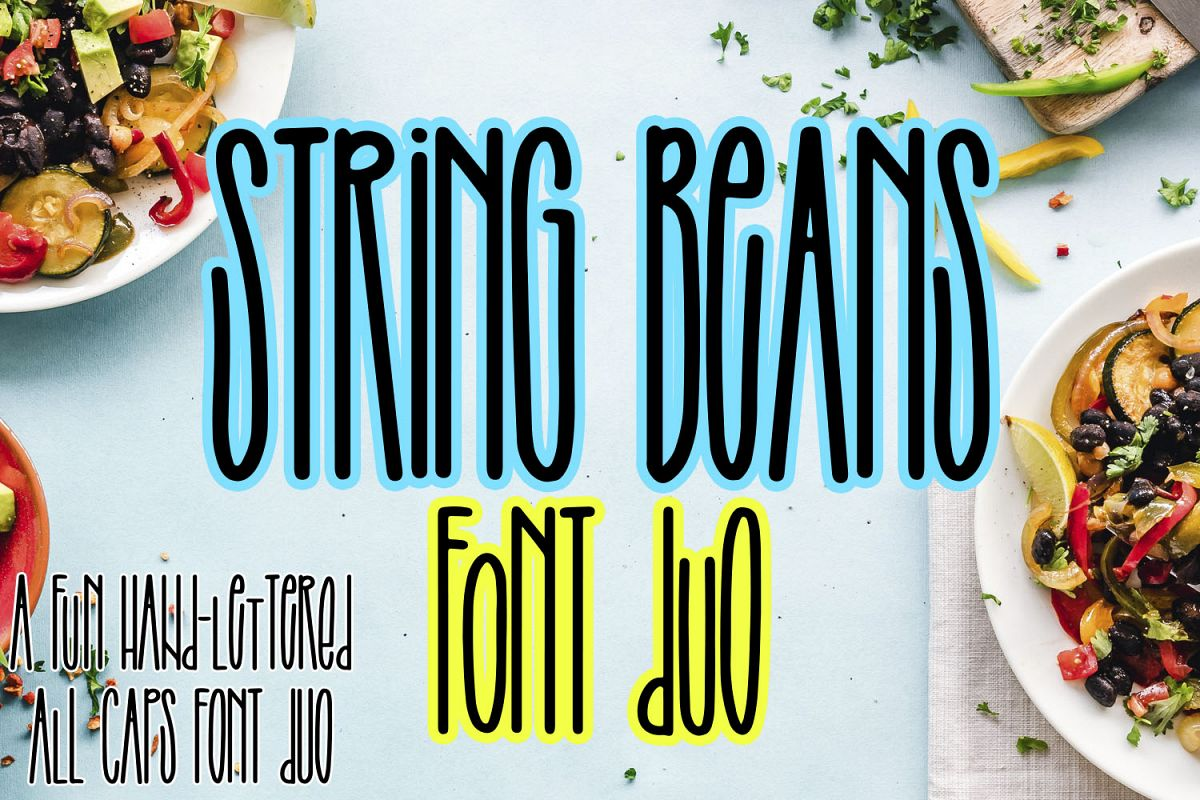 String Beans - A fun hand-lettered all caps font duo example image 1