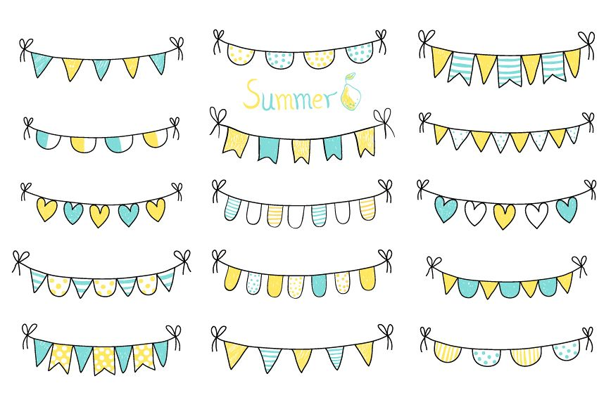 Cute hand drawn summer bunting clip art set, Birthday party bunting example image 1