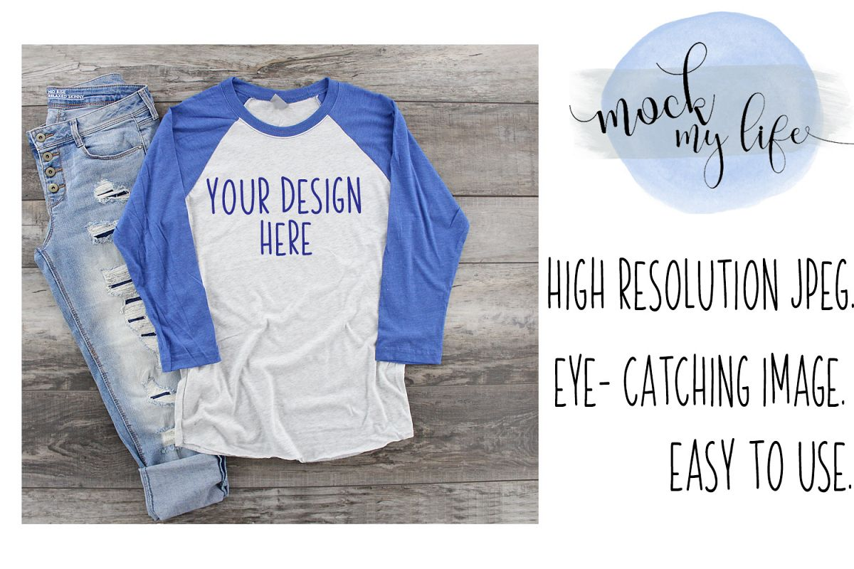 MockUp Next Level Raglan / Baseball Tee Mock up example image 1