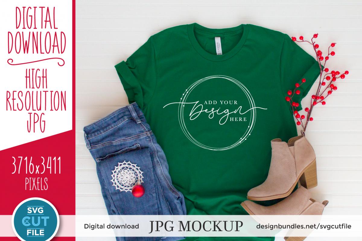 Mockup Bella Canvas 3001, green Xmas Evergreen Shirt Mock up example image 1